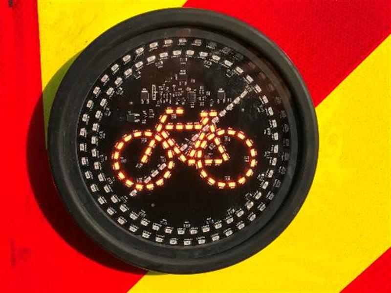 Led Warning Sign Boosts Cyclist Safety